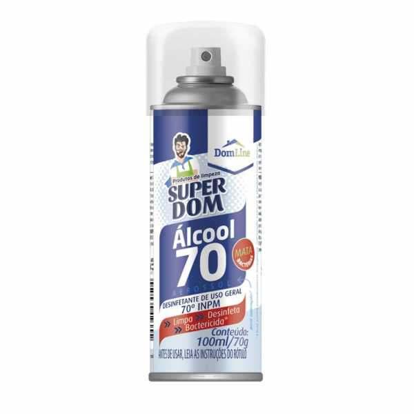 Alcool Spray Aerosol Super Dom 70% 100ml/70g