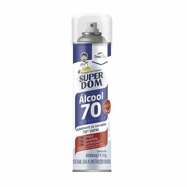 Alcool Spray Aerosol Super Dom 70% 300ml/170g