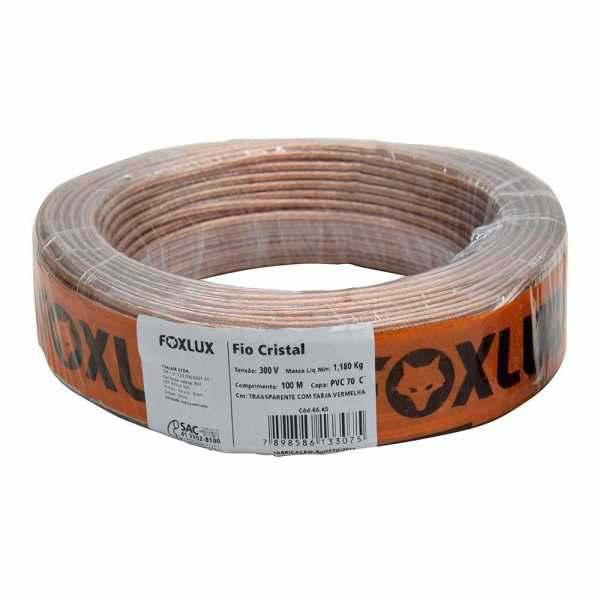 Fio para Som Foxlux 2 X 1,00 MM Cristal 16 RL C/100 mt