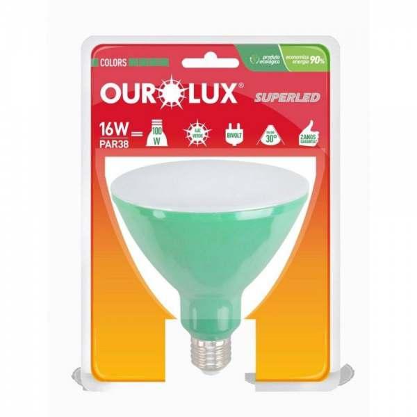 Lampada Led Ourolux PAR38 16W Verde Bivolt