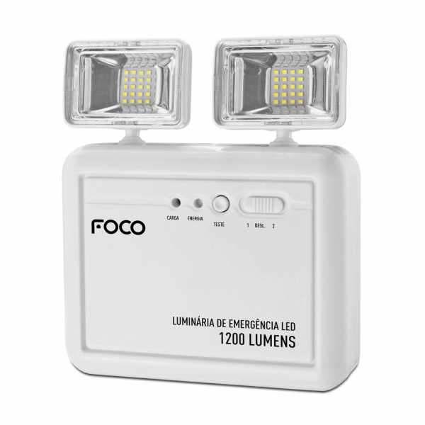 Luminária de Emergência Foco Fle1200 Bloco Autônomo Bivolt