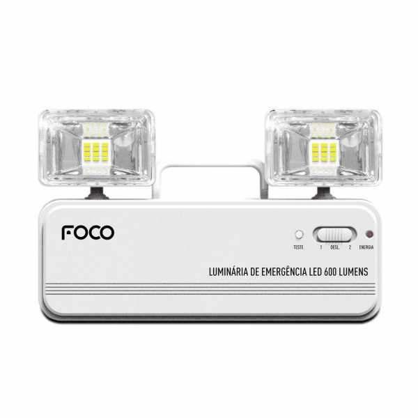 Luminária de Emergência Foco Fle600 Bloco Autônomo Bivolt