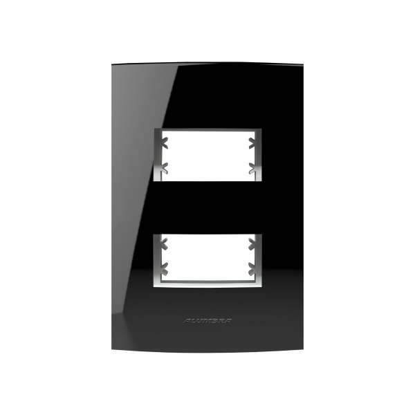 Placa 4X2 Alumbra Inova Pro Class 2 Módulos Black Piano 85527