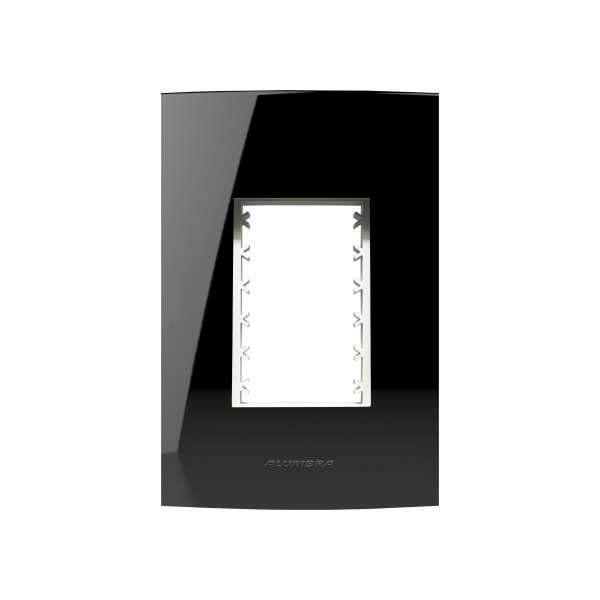 Placa 4X2 Alumbra Inova Pro Class 3 Módulos Black Piano 85528