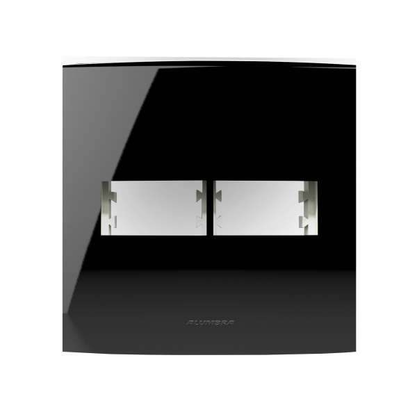 Placa 4X4 Alumbra Inova Pro Class 2 Módulos Black Piano 85530