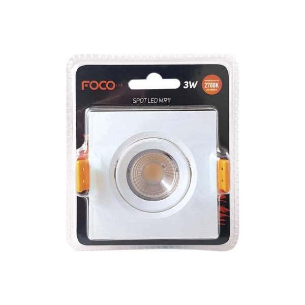 Spot Led Quadrado Foco 3w MR11 4000k  Bivolt