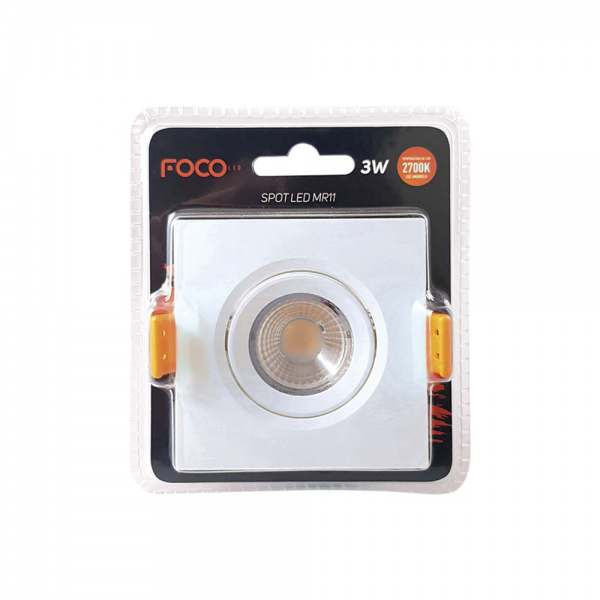 Spot Led Quadrado Foco 3w MR11 2700k  Bivolt